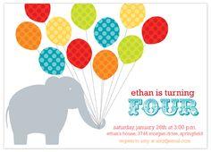 Balloon Extravaganza Children's Birthday Party Invitation