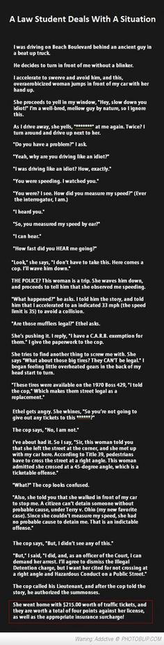 Woman Tries To Mess With A Law Student. Then He Does Something Genius.