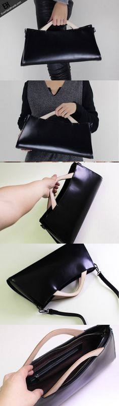 Handmade Leather handbag shoulder bag black for women leather