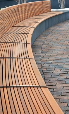 Custom wood bench over cast stone wall at the University of Minnesota's Cancer & Cardiovascular Research Building. Minneapolis, MN. Ipe Wood, Stainless Steel Skateboard Deterrent, Permeable Pavers, Curved Bench, DAMON FARBER