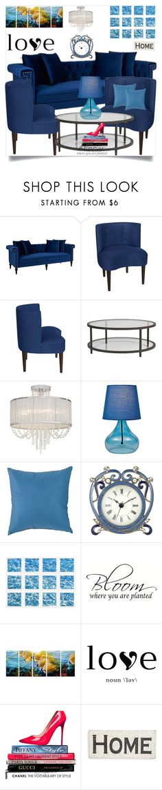 """""""Blue home  13"""" by mell-2405 ❤ liked on Polyvore featuring interior, interiors, interior design, home, home decor, interior decorating, Jennifer Taylor, Vienna Full Spectrum, Lite Source and Sunbrella"""