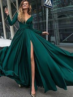 A-Line/Princess V-Neck Long Sleeves Sweep/Brush Train Ruffles Satin Dresses - Prom Dresses 2018 - Prom Dresses - Hebeos Online Dark Green Prom Dresses, Split Prom Dresses, Prom Dresses 2018, Prom Dresses Long With Sleeves, Prom Dresses With Sleeves, Cheap Prom Dresses, Dresses For Teens, Prom Gowns, Dresses Online