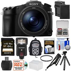 KIT INCLUDES 15 PRODUCTS — All BRAND NEW Items with all Manufacturer-supplied Accessories + Full USA Warranties: [1] Sony Cyber-Shot DSC-RX10 III 4K Wi-Fi Digital Camera + [2] Sony 64GB SDXC C10 UHS-1 Card + [3] Spare NP-FW50 Battery + [4] Battery Charger + [5] Vivitar 72mm UV Glass Filter + [6] Vivitar Sling Camera Strap + [7] PD Mini Sling Backpack +