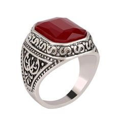 Black/Red Carved Stone Silver Plated Ring