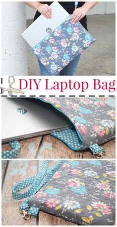 Sewing Patterns Get ready for back-to-school with this easy DIY Laptop Bag craft! Your student will love carrying around this stylish bag. Create this project in time for them to go back to school. - Make your own DIY Laptop Bag with this easy tutorial! Sewing Projects For Beginners, Sewing Tutorials, Sewing Hacks, Sewing Crafts, Sewing Tips, Diy Projects, Sewing Ideas, Sewing Basics, Easy Seeing Projects