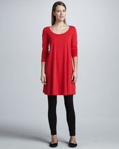 Joan Vass Scoop-Neck Long-Sleeve Tunic and Cropped Stretch-Jersey Leggings. #red #dress #joanvass #premierdesigner #neimanmarcus #neiman #marcus #fineattire #womensclothing #womensfashion #autumn2013 #aw2013 #joan #vass