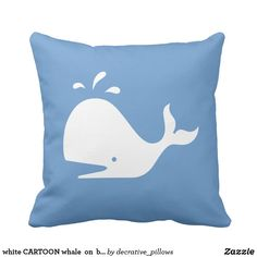 white CARTOON whale  on  blue pillow @zazzle #zazzle #throwpillows #pillows #homedecor #collegapartment #sophomoreyear #couch #bedroom #room #buy #shop #shopping #sale #decor #Interiordesign #interior #design #gift #gifts #housewarming #relax #loung #comfy #comfort #comfortable #whale #fish #sea #ocean #bigfish #blue #white #fun #cute
