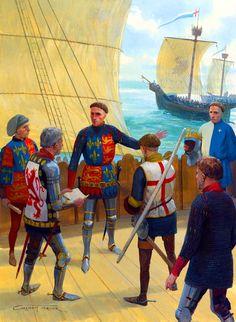 Henry V of England sailing for France