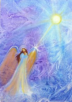 Original Acrylic Painting Beautiful Light Healing Angel by Breten Bryden, Intuitive Angel Artist at BrydenArt.com