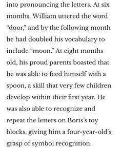 William James Sidis, Williams James, He Is Able, Vocabulary, Letters, Words, Letter, Fonts, Horse