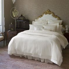Sferra Giza 45 Lace Duvet ($1,570) ❤ liked on Polyvore featuring home, bed & bath, bedding, duvet covers, pattern bedding, sferra bed linens, lace sham, lace pillow shams and sferra bedding