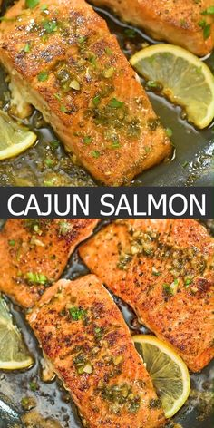 Cajun Salmon This recipe is a true delight. The pan-seared, Cajun-seasoned salmon covered with garlic-butter sauce is simple, elegant, and delicious. Healthy Salmon Recipes, Keto Recipes, Dinner Recipes, Cooking Recipes, Salmon Stovetop Recipes, Salmon With Skin Recipes, Steamed Salmon Recipes, Lime Salmon Recipes, Salmon In Foil Recipes