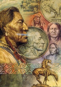 Native American Five Cent Peace, oil glazing eyes closed group