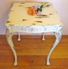 Vintage  Accent Side Table upcylced distressed chalk painted victorian shabby chic  clawfoot. $185.00, via Etsy.
