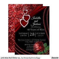 Ruby Red Glitter and Rose Anniversary Invitation Ruby Wedding Anniversary, Work Anniversary, Wedding Anniversary Invitations, Anniversary Parties, Birthday Invitations, Event Invitation Templates, Zazzle Invitations, Event Invitations
