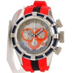 Invicta 10966 Men's Reserve Bolt Sport Orange Accents Silver Dial Grey Rubber Strap Chronograph Dive Watch