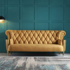 Modern Yellow Upholstered Chesterfield Sofa High Back Tufted Sofa 3 Seater Stainless Steel in Gold Sofa Design, Sofa, Gold Sofa, Simple Sofa, Tufted Sofa Living Room, Modern Sofa Designs, Living Room Sofa Design, Tufted Sofa, Art Deco Living Room