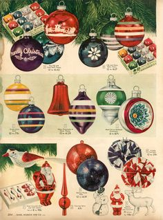 Shiny Brite ornaments from the Sears 1948 Christmas catalog. Christmas Catalogs, Old Christmas, Old Fashioned Christmas, Antique Christmas, Christmas Toys, Retro Christmas, Christmas Holidays, Christmas Decorations, Christmas Mantles