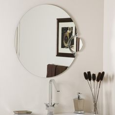 Have to have it. Frameless Wall Mirror with Magnification - 27.56 diam. in. - $137.41 @hayneedle