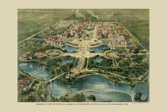birdseye view of Pan American Exposition, Buffalo NY 1901 - Delaware Park Delaware Park, Cities, Buffalo New York, Buffalo News, Historical Architecture, Neoclassical Architecture, Coney Island, World's Fair, Birds Eye View