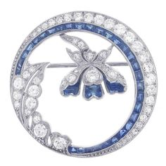 Antique Sapphire and Diamond Floral Circle Brooch, Circa 1930