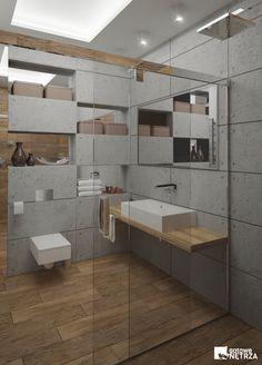 5 m2 z betonem architektonicznym i gresem jak drewno. Markowe produkty i projekt gratis