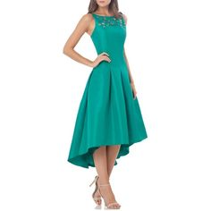 Women's Carmen Marc Valvo Infusion Embellished Midi Dress ($360) ❤ liked on Polyvore featuring dresses, green, formal dresses, green dress, blue green dress, blue midi dress and mid calf dresses