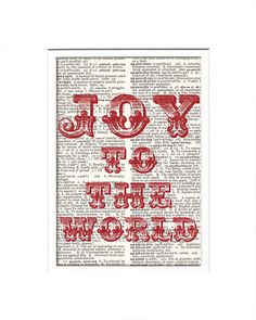 JOY To THE WORLD quote print red typography book