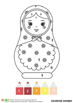 Coloriage magique CP: une poupée matriochka Geography For Kids, Matryoshka Doll, Etsy Crafts, Summer Art, Colorful Pictures, Origami, Hello Kitty, Snoopy, Clip Art