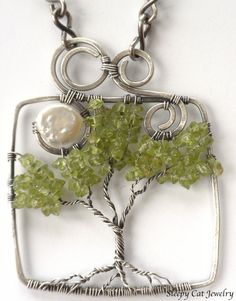 Tree of Life Necklace Nighttime with Moon by SleepyCatJewelry, $175.00