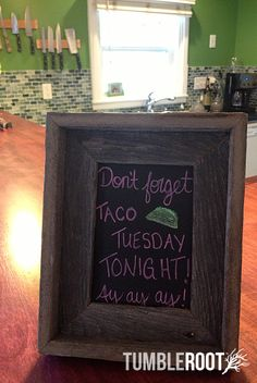 Adorable 5x7 barnwood chalkboard frame - perfect for message boards to your roomates!