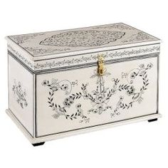 Hand Painted Trunk - Cream