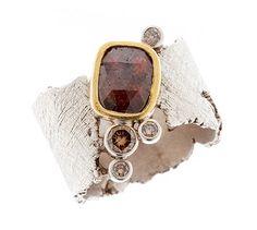 MIO RING by Davide Bigazzi     sterling silver, 18 karat gold, red diamond, yellow diamond, white diamonds