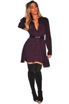 3057c34df8c2 Purple Black Plaid Flannel Long Sleeves Shirt Dress  Mini Dress  Purple   Blue