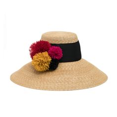 Visit EugeniaKim.com to shop the MIRASOL Natural straw sunhat with multicolor raffia poms and wide black grosgrain band