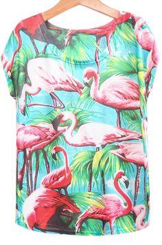 T-Shirt lâche motif flamingo
