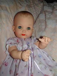 "Vintage Effanbee 1960's MY FAIR BABY 16"" Drink Wet Rubber Vinyl Baby Doll-Cutie"