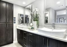 These unique sinks give this bathroom from Lennar in Irvine, CA a special touch