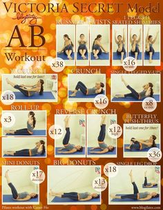 Victorias Secret Model Blogilates Ab Workout! Be sure to check out blogilates on her youtube channel by the same name. - Click image to find more health & fitness Pinterest pins