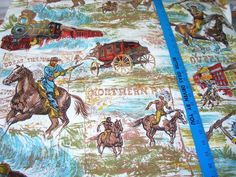 Vintage Western Cowboy Theme Fabric by DebscountryVintage on Etsy, $40.00