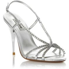 pretty shoes / Silver-leather Heir strappy diamante slingback heeled sandal ($105) found on Polyvore ||