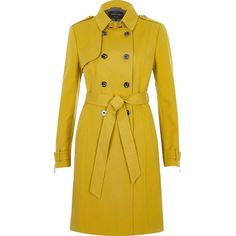 River Island Yellow tie waist trench coat ($150) ❤ liked on Polyvore featuring outerwear, coats, coats / jackets, women, yellow, trench coat, tall trench coat, long sleeve coat, lightweight trench coat and tall coats