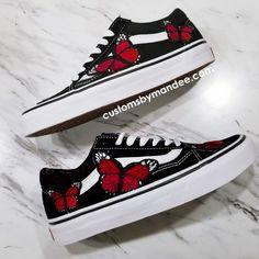 Red Butterflies Custom Embroidered-Patch Vans Old-Skool Sneakers Custom Vans Shoes, Mens Vans Shoes, Vans Men, Vans Shoes Fashion, Cute Vans, Tenis Vans, Aesthetic Shoes, Fresh Shoes, Hype Shoes