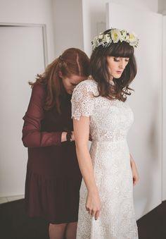 Auckland bride wearing Rue de Seine dress and white floral crown.