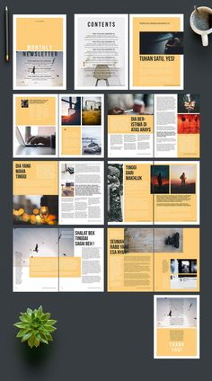 Newsletter Layout With Yellow Accent - Acheter ce template libre de droit et découvrir des templates similaires sur Adobe Stock This design colour would look great in a grey hue (banners) - I like how it goes from the far edges of the page. page ui design Magazine Layout Inspiration, Layout Design Inspiration, Page Layout Design, Magazine Layout Design, Magazine Layouts, Newsletter Layout, Newsletter Design Templates, Booklet Design, Psd Templates