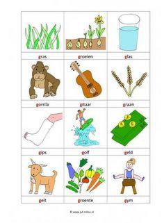 Taal - G woordkaartjes kl 1 Letter School, School Posters, Primary School, Spelling, Worksheets, Afrikaans, Education, Learning, Logos