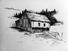 Pencil Drawing Patterns Pencil sketch of a barn Graphite Drawings, Art Drawings Sketches, Drawing Designs, Landscape Pencil Drawings, Landscape Sketch, Farm Paintings, Landscape Paintings, Scandinavian Cabin, Watercolor Pencil Art
