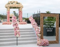 Surprise! A wedding ceremony disguised as a birthday party was revealed when guests ascended a floral filled staircase (Venue: @thelondonweho | Planner: @internationaleventco | Ceremony Music: #DanaBronson | Florals: @marksgarden @michael_MarksGarden | Decor: @revelryeventdesign @revelryMatias | Photo: @simonevankempen | Video: @vidicamproductions | Table Top Rentals: @tacer_losangeles | Napkins/Linens: @wildflowerlinen | Ceremony Chairs: @chiavarichairrentals | Cake: #michellesbakery…