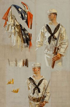 JOSEPH CHRISTIAN LEYENDECKER (American, 1874-1951)  World War I Navy poster, preliminary studies, 1917  Oil on canvas  21 x 14 in.  Not signed