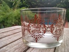 Vintage Damask Glass/Damask Glass Jar/Brown Damask Bowl/Damask Jewelry…